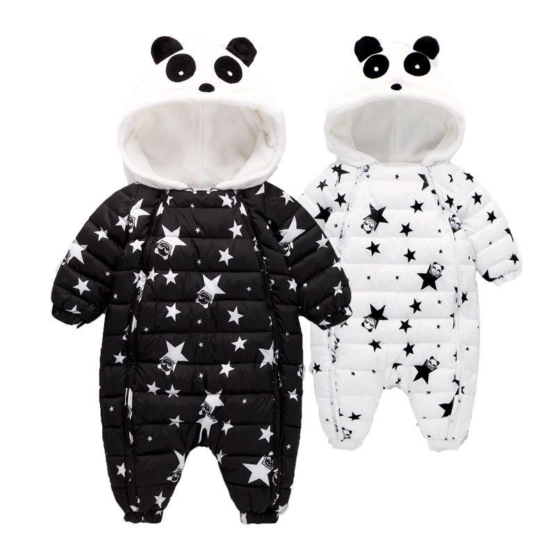 Waterproof Winter Warm Baby Boy Girl Bodysuits Flannel Liner Cotton Filler Newborn Baby Clothing Panda Modeling For 3-24 Months