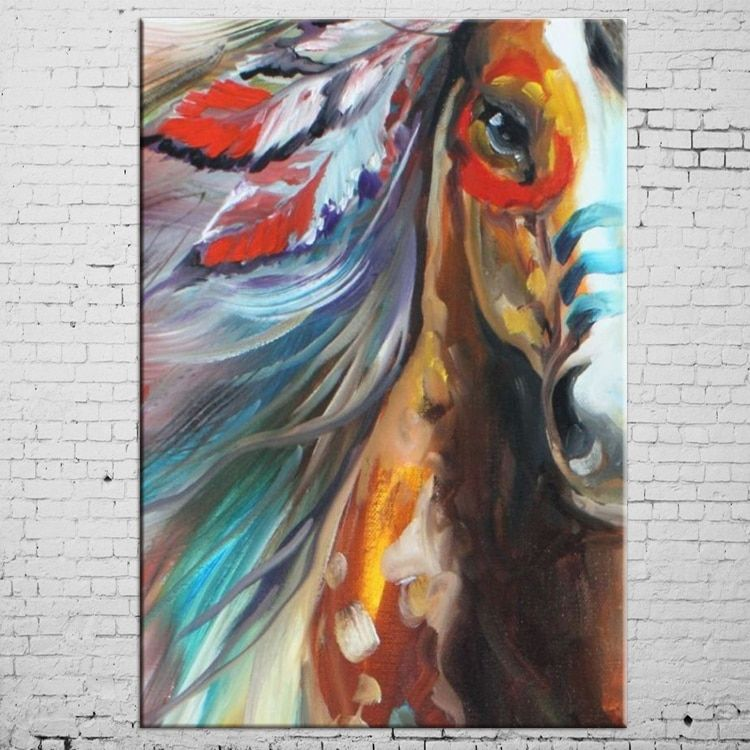 Бесплатная доставка Высокое качество лошадь Масляные краски Аннотация POP лошадь маслом на холсте ручной работы животного индийский лошадь ...