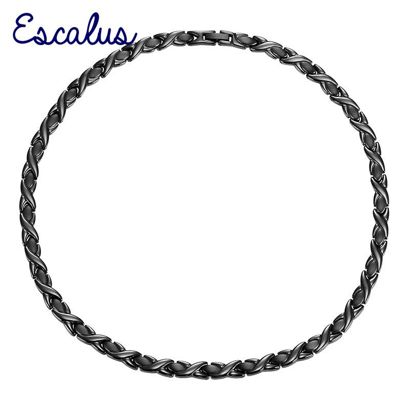 Escalus Stainless Steel Necklace Ladies Magnetic 4-in-1 Negative Ions All Black Bio Choker Jewellery Free Shipping Charm