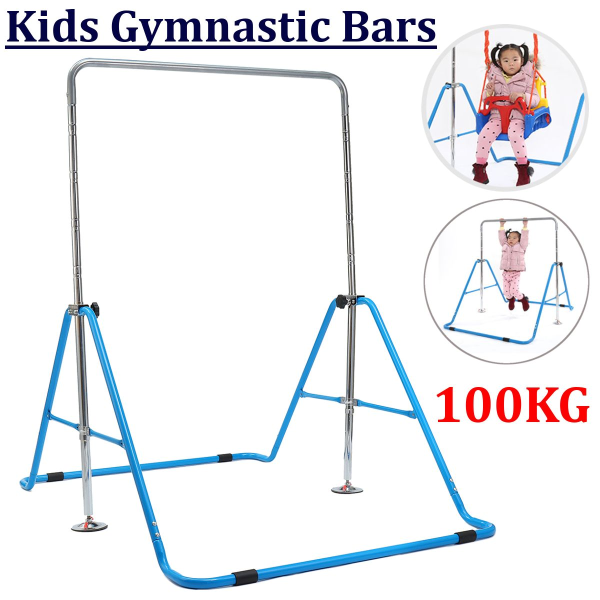 Children Folding Indoor Horizontal Bar Kids Pull-ups Shoulder Joint Training Fitness Toy Tools Adjustable Height Max Load 100Kg