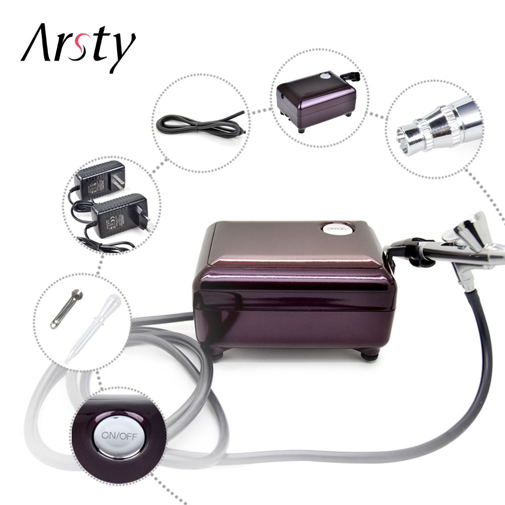 ARSTY Airbrush Compressor Kit Portable Airbrush Tattoo Make Up 3 Speeds Adjustable Tattoo Airbrush For Nail And Cake Painting