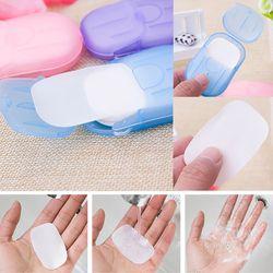 Y & W & F 20 piezas desechables en caja papel jabón portátil de viaje caja de lavado de manos perfumado hojas Mini papel jabón