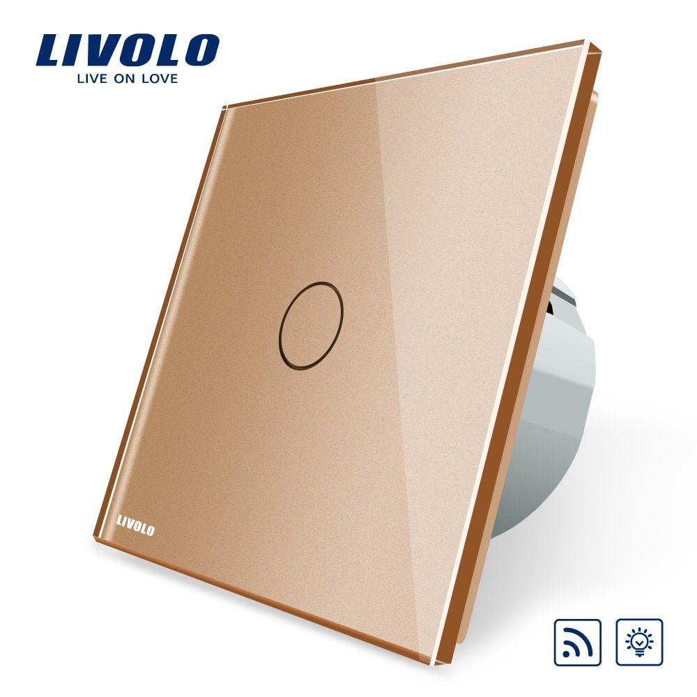 Livolo EU Standard  Remote with Dimmer Function Wall Light Switch, VL-C701DR-13, Golden Glass Panel, (No Remote controller)
