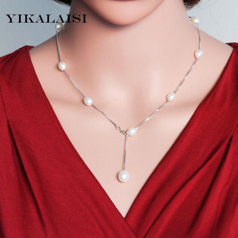 2017 Mode Naturel perle Sautoirs Colliers Pour Les Femmes 925 bijoux en argent sterling chaîne en argent perle colliers et pendentifs Cadeaux