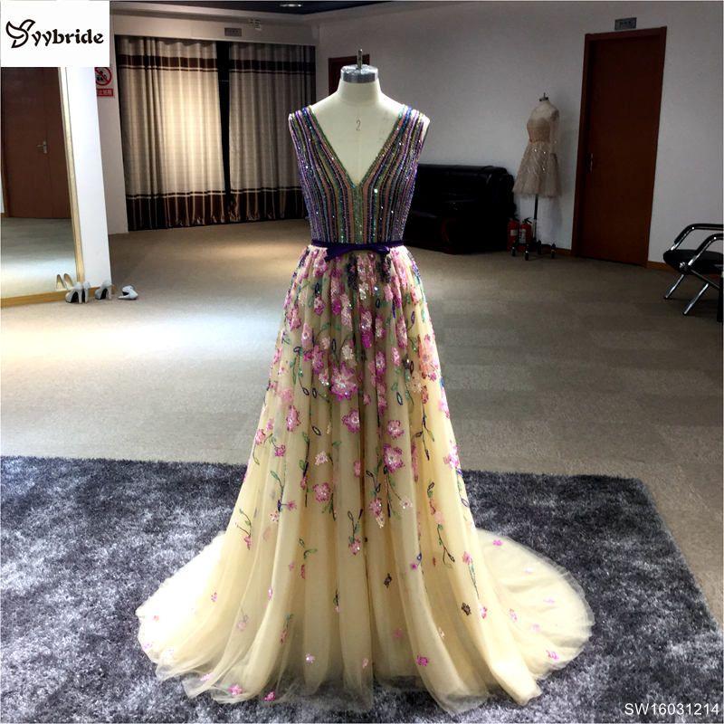 Abendkleid 2017 Prom Kleid Sleeveless Färbte V-ausschnitt bodenlangen Luxus Perlen Partei Prom Kleider Lange Abendkleider