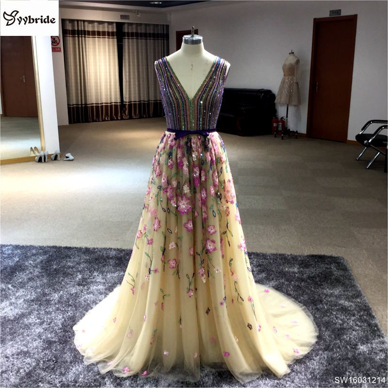 Evening Dress 2017 Prom Dress Sleeveless Colorized V-neck Floor-length Luxury Beaded Party Prom Gowns Long Evening Dresses