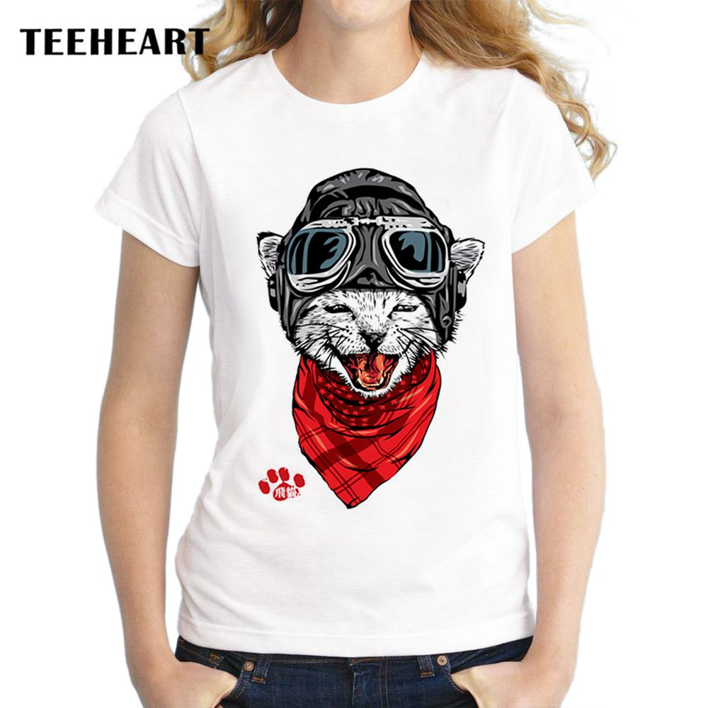 TEEHEART Funny The Happy Fly Cat Design Printing Animal T-shirt Women's T shirt Cool Tops Female Short Sleeve Hipster Tees za031