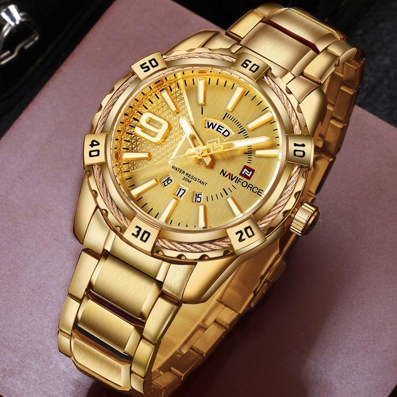 Montre de Sport pour hommes de marque de luxe NAVIFORCE montres à Quartz en acier doré pour hommes Date horloge militaire étanche pour homme relogio masculino