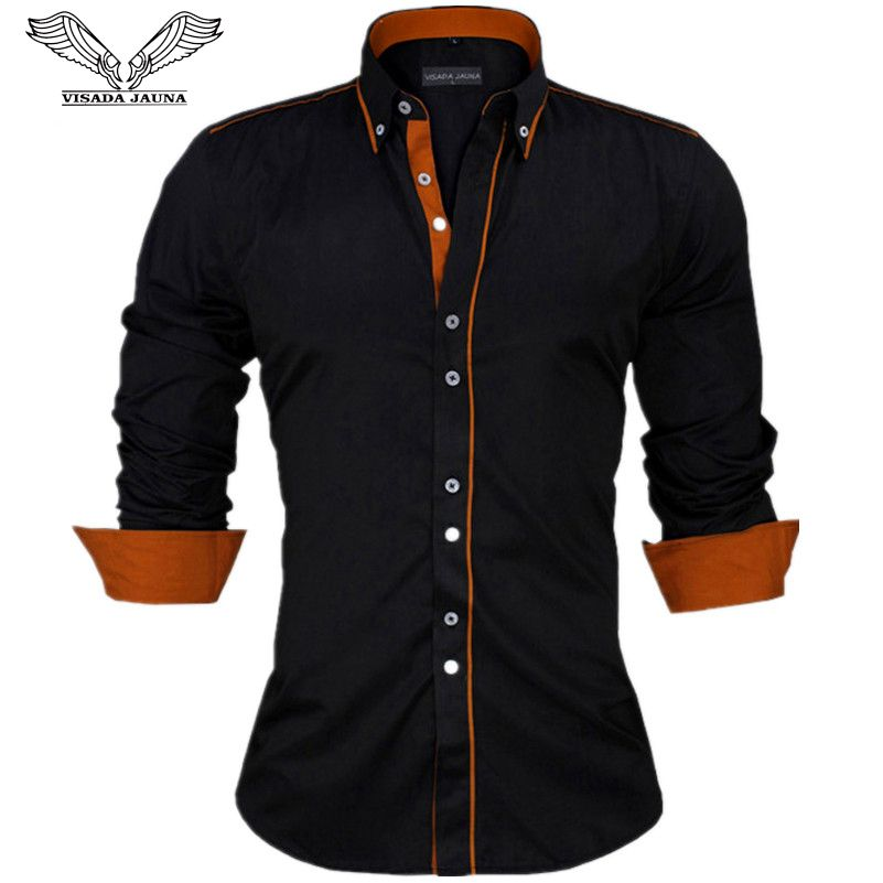 VISADA JAUNA Men Shirts Europe Size New Arrivals Slim Fit <font><b>Male</b></font> Shirt Solid Long Sleeve British Style Cotton Men's Shirt N332