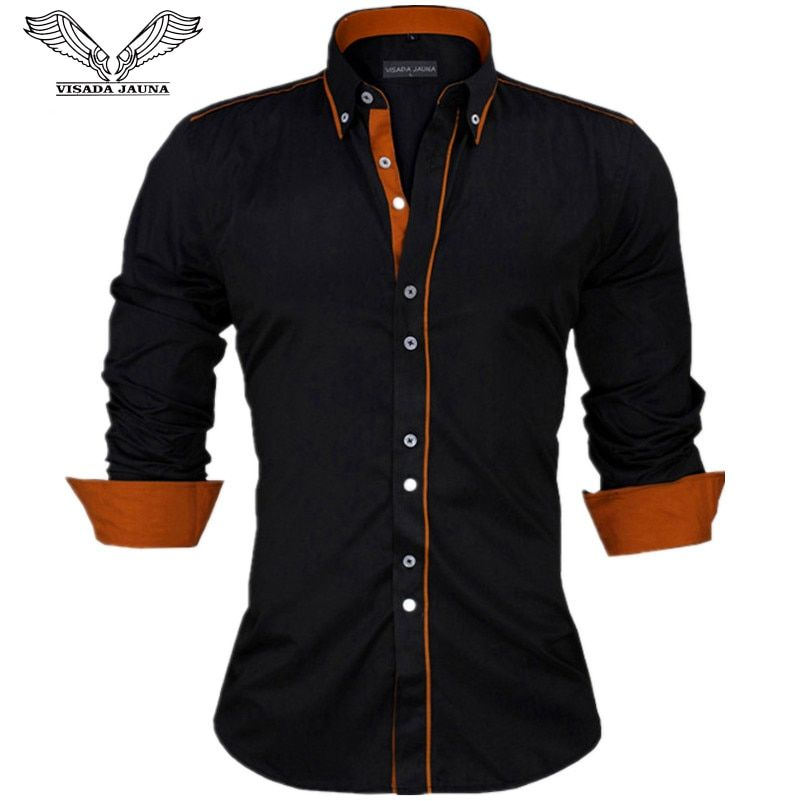 VISADA JAUNA Men Shirts Europe Size New Arrivals <font><b>Slim</b></font> Fit Male Shirt Solid Long Sleeve British Style Cotton Men's Shirt N332