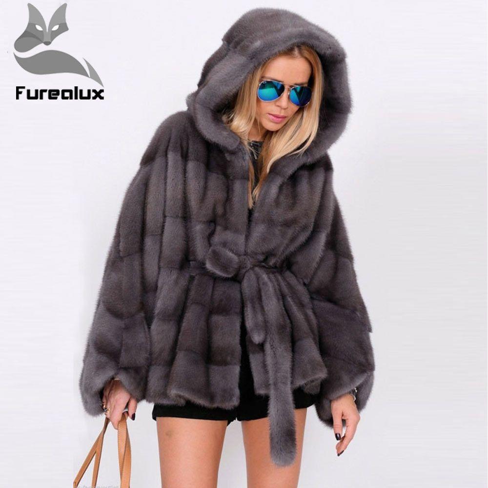 Furealux Echt Pelzmantel Frauen Fledermaus Ärmeln Winter Dicke Warme Nerz Pelz Mantel Mit Kapuze Luxus Weibliche Nerz Pelz Jacke