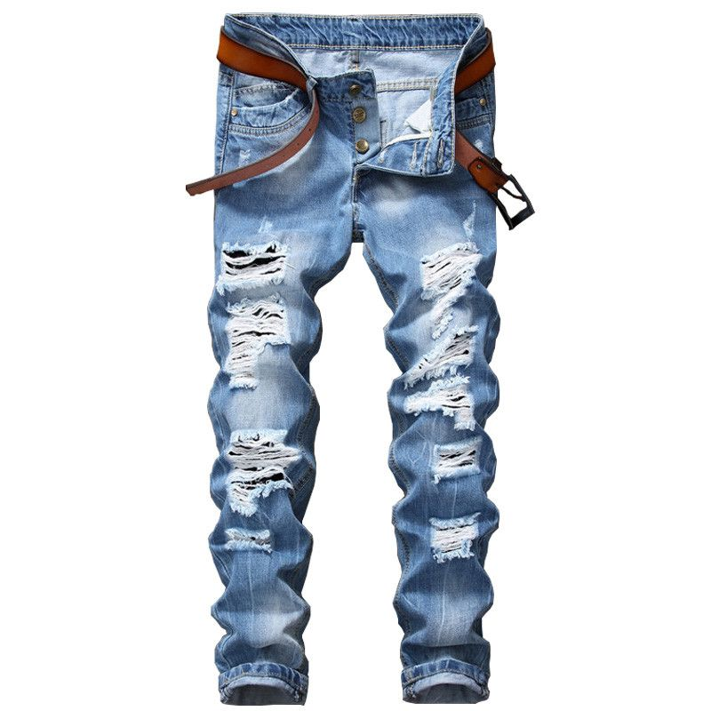 2017 Designer Men's Ripped Jeans Pants Slim Fit Light Blue Denim Joggers Male Distressed Destroyed Trousers Button Fly Pants