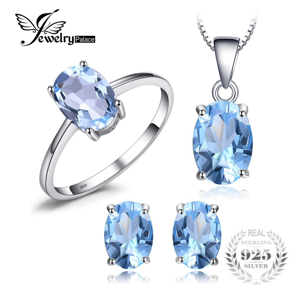 JewelryPalace Oval 5.8ct Natrual Blue Topaz Ring Stud Earrings <font><b>Pendant</b></font> Necklace 925 Sterling Silver Jewelry Sets 45cm Box Chain