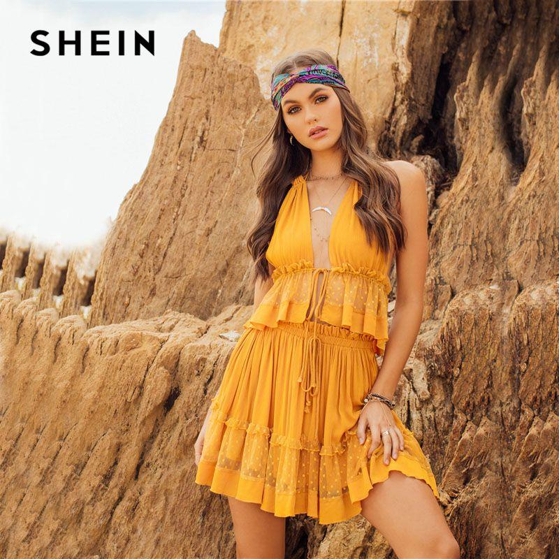 SHEIN Dot Mesh Insert Crop Top & Frill Shorts Set 2018 Ginger Women Spaghetti Strap V-neck Sleeveless Plain 2 Pieces Sets