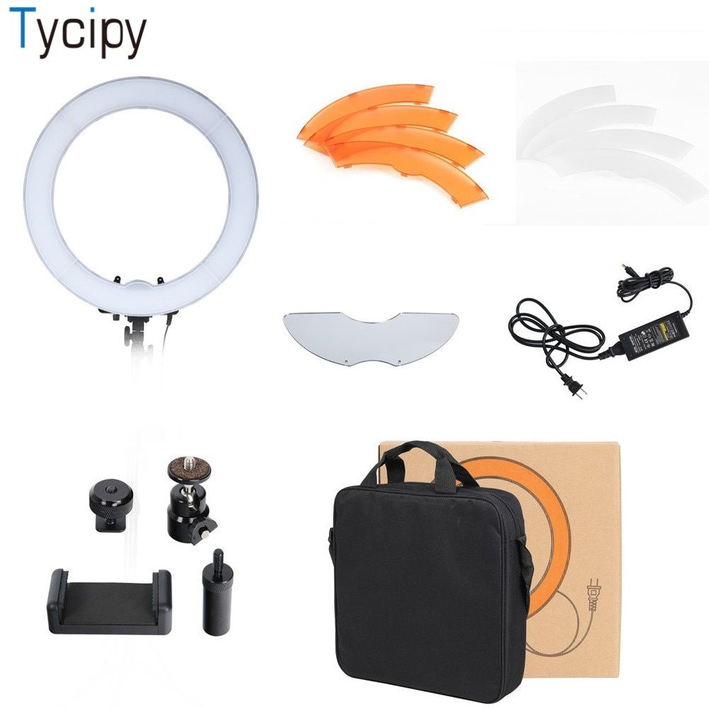 Tycipy Dimmable Photography 5500K LED Camera Photo Studio Telephone Video Photo Photography For DSLR Nikon Ring Light Bag