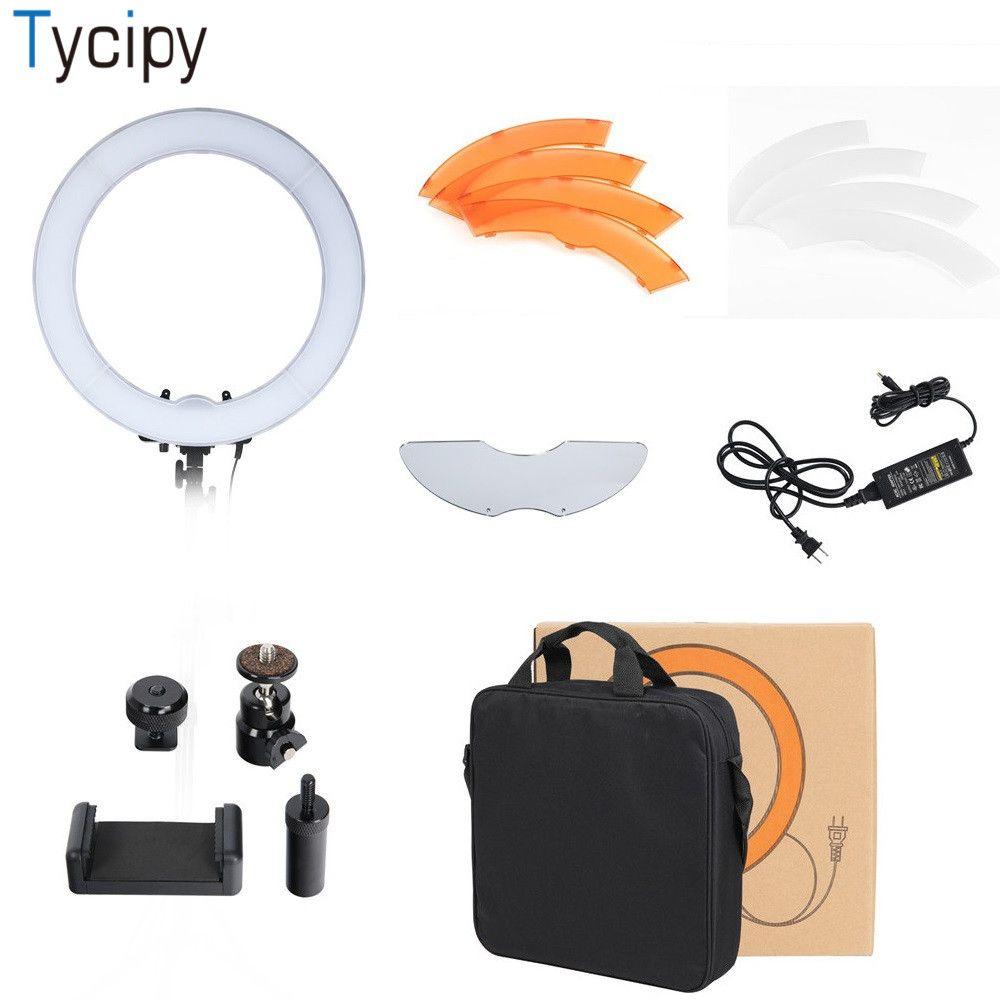 Tycipy Dimmable Photography 5500K LED Camera Photo Studio Telephone Video Photo Photography For DSLR Nikon Ring Light Bag