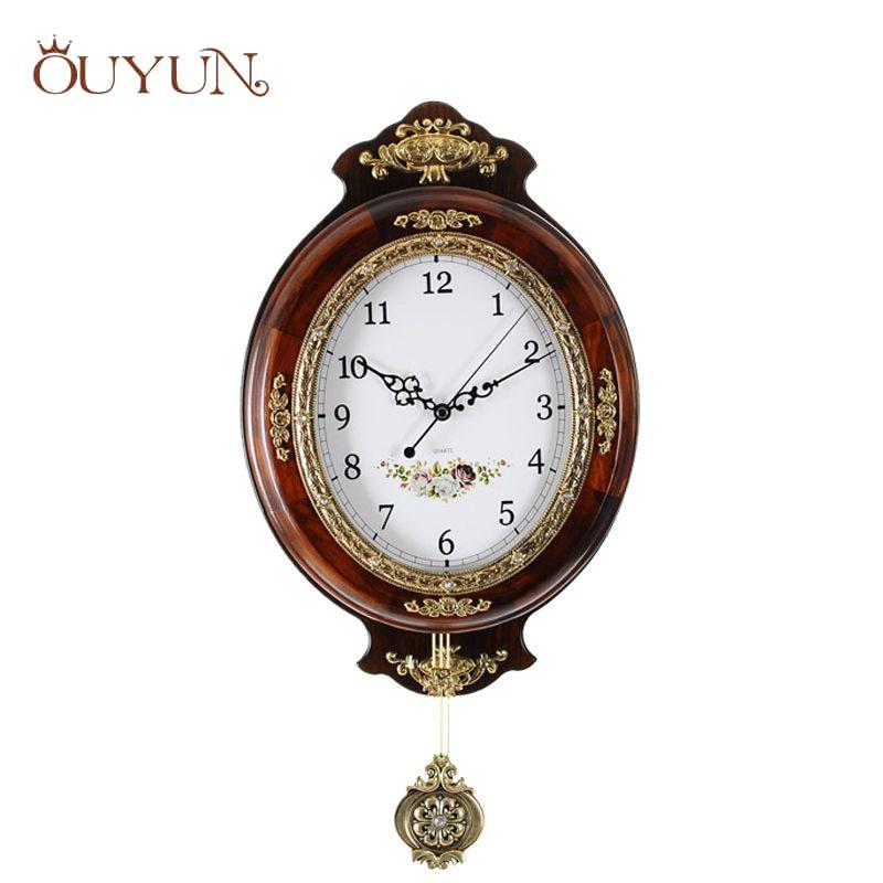 OUYUN European large Wall Clock Modern Design Wooden Vintage Wall Clock Pendulum Mute Clock Safe Quartz Clock Movement Home