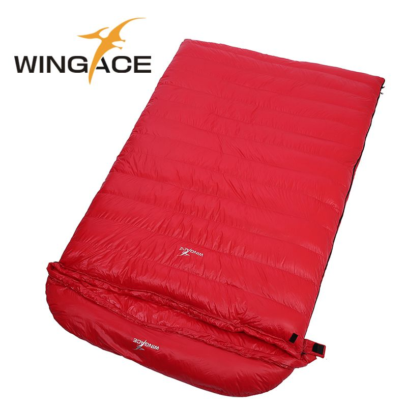 WINGACE Fill 4000G Goose Down Sleeping Bag Winter Camping Outdoor Envelope Adult Double Sleeping Bags Hiking Camping Equipment