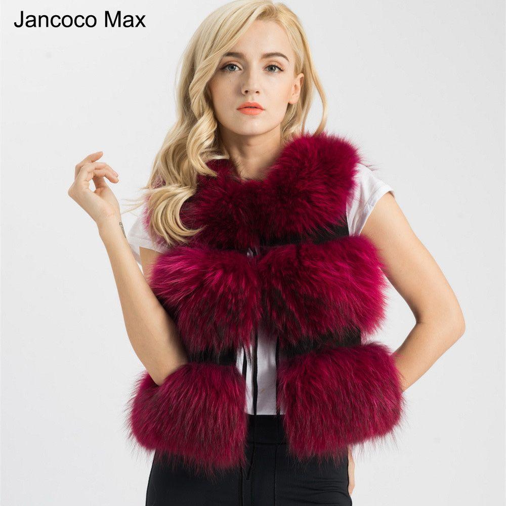 Jancoco Max 2018 Five Colors Real Fur Vest Women Genuine Raccoon Fur Gilet Waistcoat Winter New Fashion 3 Rows Vest S1150SJ