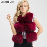 Jancoco Max 2018 cinco colores Real Chaleco de piel genuino de las mujeres de piel de mapache Gilet chaleco invierno nueva moda 3 filas chaleco S1150SJ
