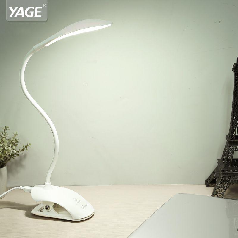 YAGE Clip lampe de Table sans fil USB lampe de bureau 14 pièces LED lampe de Table lecture lit livre Flexo bureau lumière 3 Modes tactile lampes Table