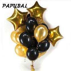 13 шт./партия 12 дюймов Жемчужные черные золотые латексные воздушные шары с 18 дюймовыми золотыми звездами Свадебный декор для вечеринки в чес...