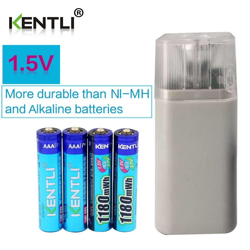 KENTLI 4pcs 1.5v 1180mWh AAA rechargeable polymer lithium battery + 4 slots aa aaa lithium battery charger with flashlight
