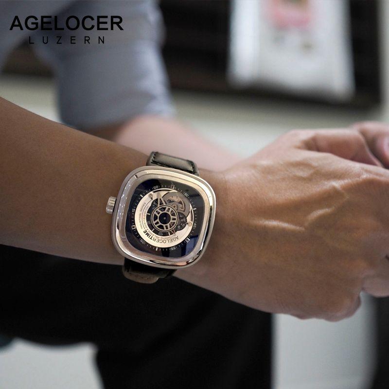 Agelocer Swiss Brand Relogio Masculino Automatic Watch Cowhide Watch Strap Sport Wrist Watch Men Stainless Steel Waterproof 50M