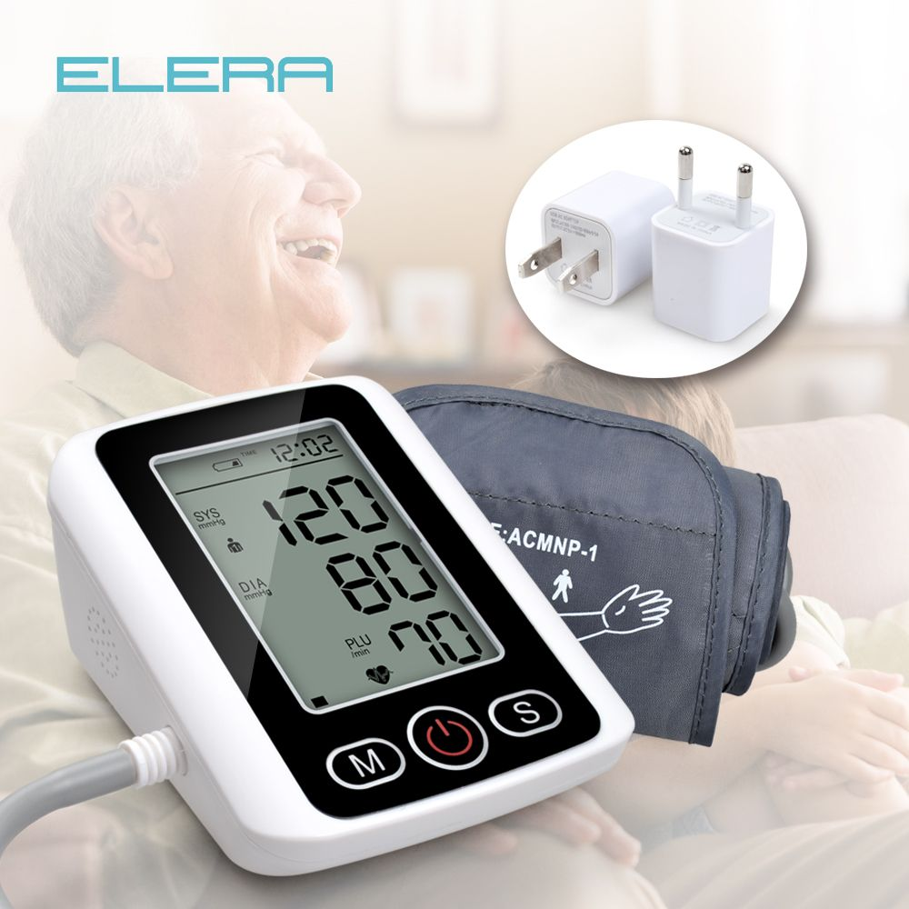 ELERA Blood Pressure Arm Pulse Monitor with Voice Function LCD Portable Heart Beat Meter Measuring Automatic <font><b>Health</b></font> Care
