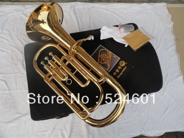 Professional Bb Euphonium 3 Straight Key Bb Bass, French Horn Gold Lacque Trumpet with Mouthpiece Gloves Cloth Brush Bb TB-200