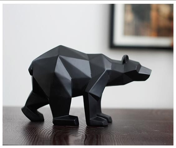 Black Panther Sculpture Geometric Resin Leopard Statue Wildlife Decor Gift Craft Ornament Accessories Furnishing Bear statues