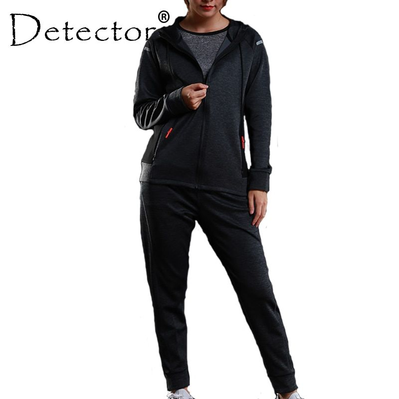 Detector Women's Workout Fitness Running Jacket Pants Set Running Tights Training Long Sleeves Hoodies Sport Suit
