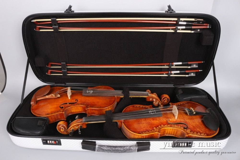 4/4 Double Violin Case Code lock Carbon fiber Square Case Yinfente put two violins four bows