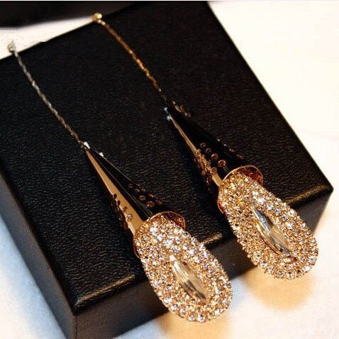 TYME 2019 mode magnifique goutte d'eau boucles d'oreilles pour les femmes CZ cristal longues boucles d'oreilles or bijoux Oorbellen grandes boucles d'oreilles Orecchini