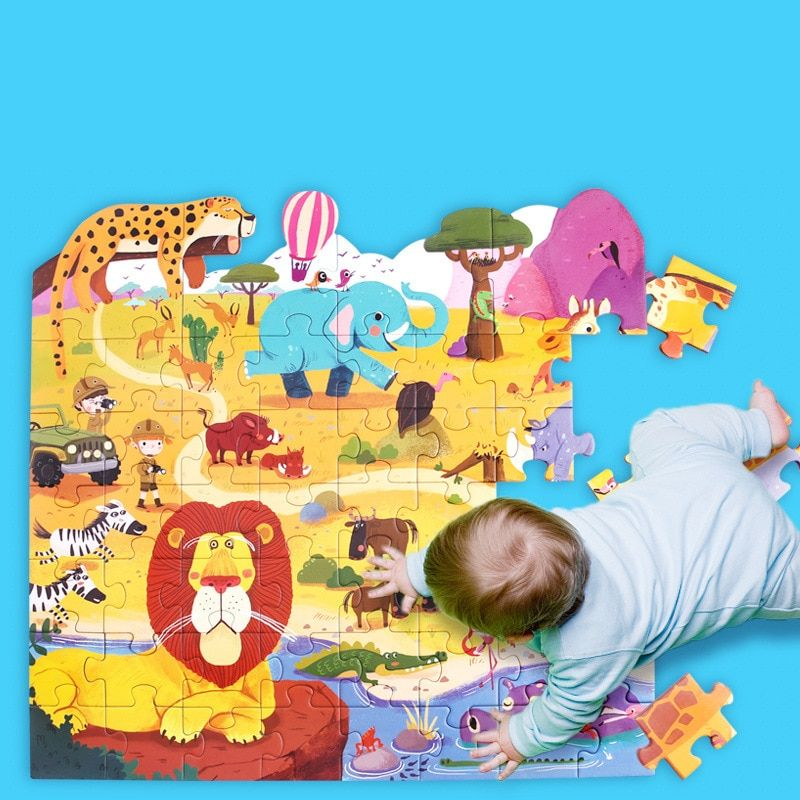 Children's Large Paper Puzzle Wooden Paper Gift Box Jigsaw Puzzle Early Learning Puzzle Early Learning Animal Puzzle Kid's Gift