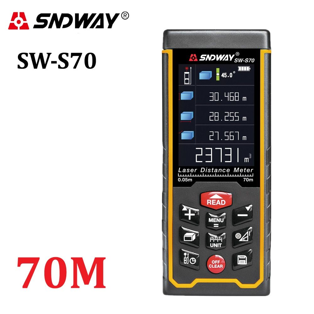 SNDWAY Rechargeable 70m Color display high-precision Laser rangefinder distance meter trena Laser tape measure Diastimeter