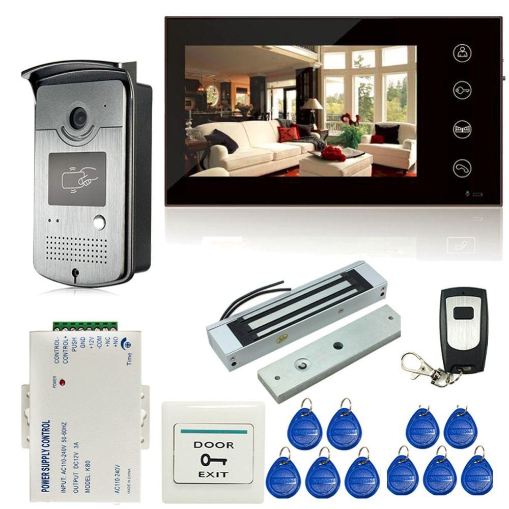 7 zoll Touchscreen LCD Farb-video-türsprechanlage Sprechanlage Eintrag System 1 Monitor + 1 RFID Zugriff HD Kamera + Elektromagnetverschluss