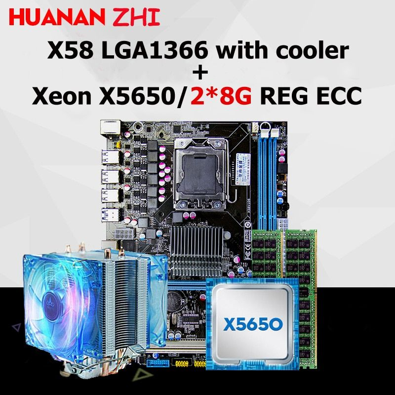 HUANAN ZHI X58 motherboard CPU RAM combos with cooler USB3.0 LGA1366 CPU Intel Xeon X5650 RAM 16G(2*8G) DDR3 REG ECC all tested