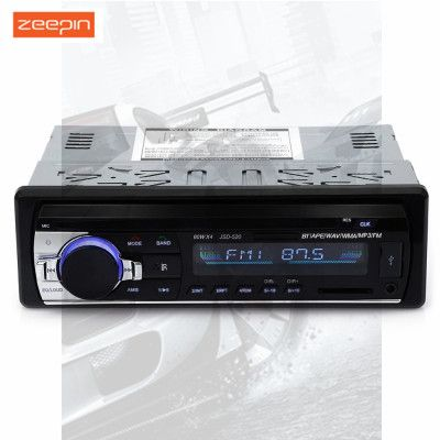 JSD520 Digital High-quality Stereo Car Radio Remote Control Bluetooth2.0 1 Din 18 Stations FM Receiver Breakpoints ID3 Display