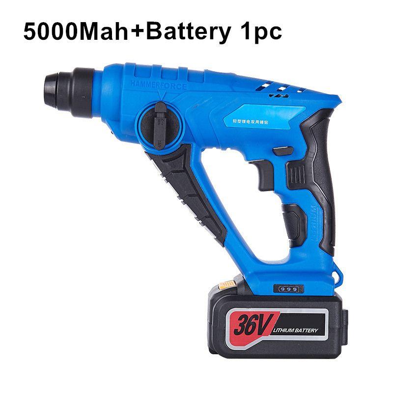 36 v 5000 mah schnurlose elektrische hammer schlagbohrmaschine lithium-batterie bohren multifunktions wiederaufladbare elektrowerkzeuge 1 stück batterie