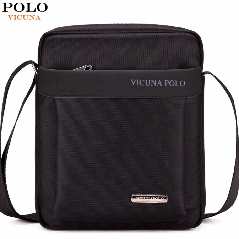 VICUNA POLO Durable Oxford Mens Crossbody Bag Promotion Casual Mens Shoulder Bags <font><b>Black</b></font>/Brown Leisure Brand Man Bag For iPad