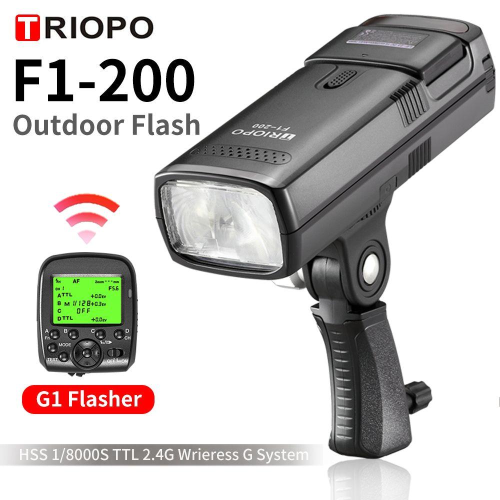 TRIOPO F1-200 TTL 2,4G HSS 1/8000 s Tasche Outdoor-Licht 200Ws mit G1 Trigger 2900 mAh lithium-Batterie Taschenlampe PK AD200