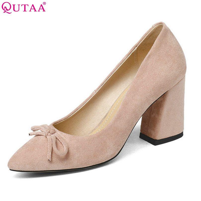 QUTAA 2018 Women Shoes Flock Hoof High Heel Platform Women Pumps Black Square heel Fashion Ladies Wedding Woman Shoes Size 34-43
