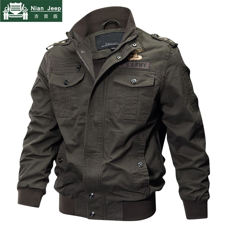 2018 Plus Size Military Jacket Men Spring Autumn Cotton Pilot Jacket Coat Army Men's Bomber Jackets Cargo Flight Jacket Male 6XL
