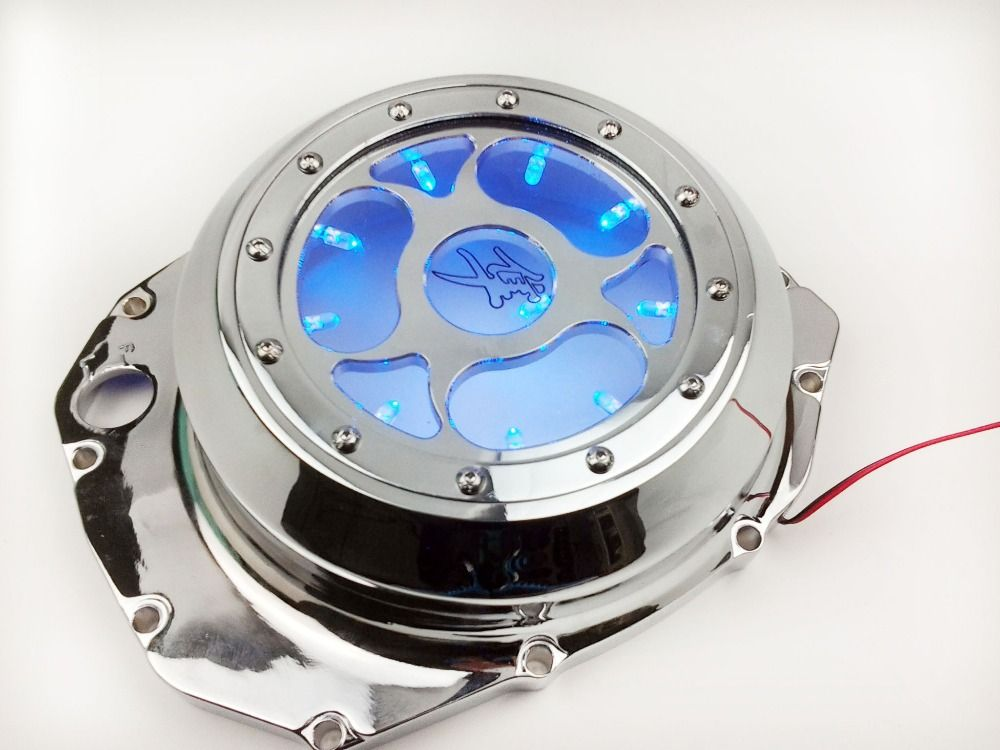 Motorcycle parts Blue LED See through Engine Clutch Cover For Suzuki GSX1300R Hayabusa B-king CD