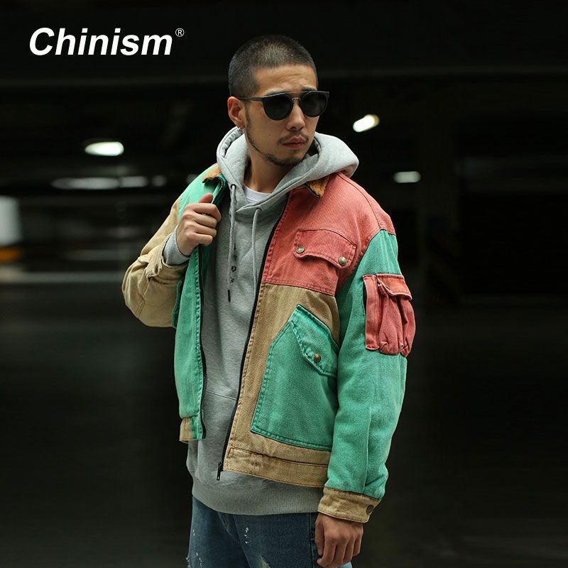 CHINISM Color Patchwork Wool Collar Thick Coats Mens <font><b>Multi</b></font> Pockets Loose Parkas Jackets Stylish Streetwear Mens Winter Hip Hop
