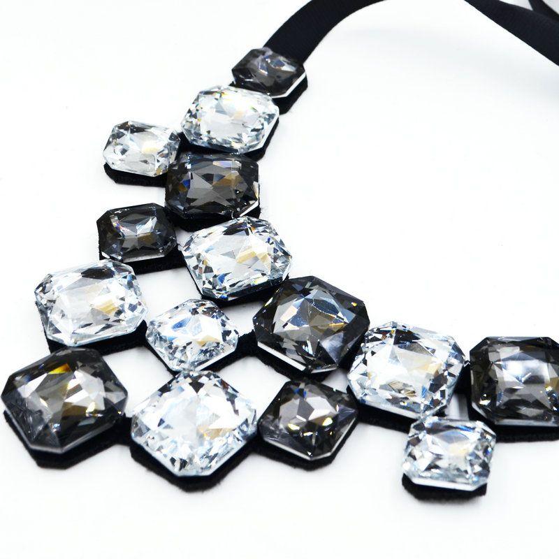 2017 Новый цвет квадратный кристалл ожерелье яркие украшения для женщин Лента колье Биб Воротник себе ожерелье