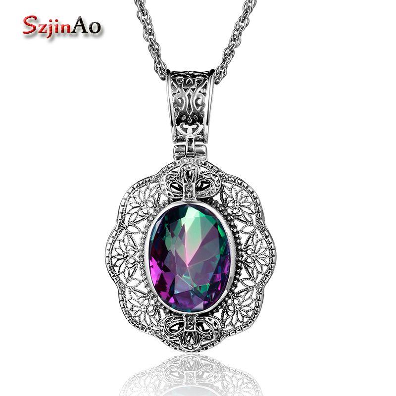Szjinao Rose grand pendentif mystique arc-en-ciel topaze réel 925 argent Sterling Vintage femmes bijoux en gros pour ami charme slave