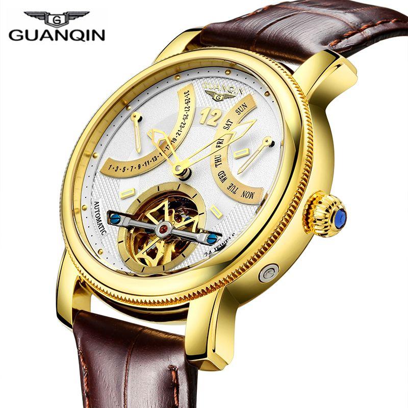 GUANQIN Design Watches Men Top Brand Luxury Watch Fashion Casual Automatic mechanical Watch Clocks Reloj Relogio masculino