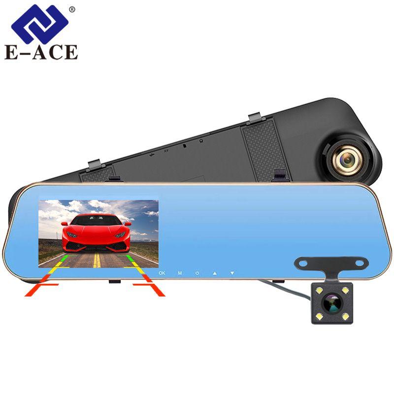 E-ACE Voiture Dvr Dash Caméra Vidéo Enregistreur Rétroviseur FHD 1080 P Dashcam Double Lentille Avec Vue Arrière Caméra Auto registrator